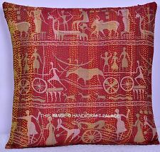 Indian Silk Pillow Cover Cushion Home Decor Handmade Kantha Quilted Pillow Case