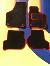 VW GOLF Mk4 1997 - 2004 CAR MATS BLACK CARPET/ RED EDGE WITH 4 OVAL FRONT CLIPS