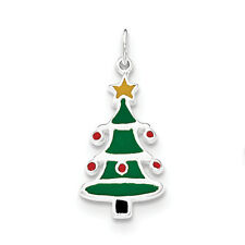 .925 Sterling Silver Flat Back Enameled Small Christmas Tree Pendant
