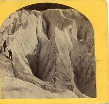 """CREVICES AT MER DE GLACE """"SEA OF ICE"""" GRINDELWALD SWITZERLAND STEREOVIEW HICKERS"""