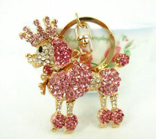 BNWT - Pink Poodle Dog in Crown w/ Diamante Crystals -Large Keyring or Bag Clasp