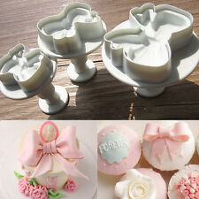 3pcs Bow Knot Cake Icing Decorating Cookie Plunger Cutters Fondant Mold Tool