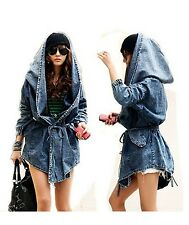 Women Denim Trench Coat Hoodie Outerwear Waistbelt Hooded Jeans Jacket One Size