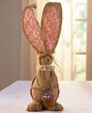 NEW BURLAP BUNNY RABBIT GIANT PINK EARS EASTER SPRING HOME DECOR CENTERPIECE