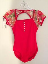 Custom-Designed Red Lace Cap Sleeve Button Leotard -- Size Medium