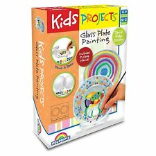 Kids Projects GLASS PLATE PAINTING CRAFT KIT +2 Stands, Bake To Seal Colours