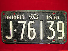 "VINTAGE 1961 Ontario Automobile License Plate ""J-76139"" Collectible!! Old Plate!"