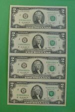Uncut sheet of $2 two dollar bills (X4) ....GREAT GIFT ITEM....Real $