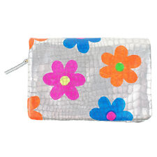 100% Authentic Tsumori Chisato Metallic Silver Pigskin Leather Wallet Flowers