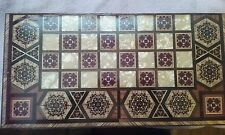 Vintage Mosaic Chess, Backgammon, Checkerboard Handmade Pearl with Wood Inlay