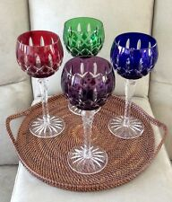 4 - Ajka Multi Color Cased Cut to Clear Crystal Wine / Water Balloon Goblets