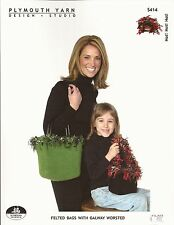 EASY Knit Felted Bags -Plymouth Knitting Pattern #S414- Instructions for 2 Sizes