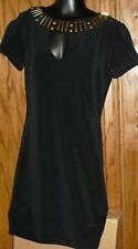 Vintage ANN HOBBS for CATTIVA Body Con Black BANDAGE cutout studded Dress size S