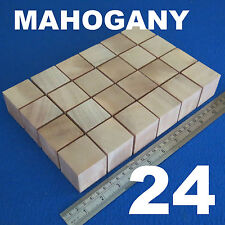 "LOT 24 CUBES 1.6""/40mm WOODEN BLOCKS BUNDLE SET MAHOGANY WOOD NATURAL ECO BRICKS"