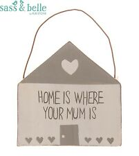 New Home Is Where Your Mum Is Cute Cottage Sass & Belle Plaque Wall Hanging Sign