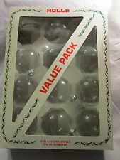 """11 - 2 5/8"""" Crystal Clear Glass Round Ornaments Silver Tops"""