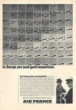 1966 Air France Airlines Jet Flying In Europe you need good Connections PRINT AD