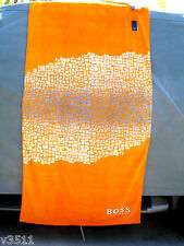 HUGO BOSS 100% COTTON  BEACH TOWEL  NEW WITH TAG  36'' X 72''  MOSAIC  ORANGE