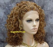 "22"" Curly Strawberry Golden Blonde Mix Full Lace Front Wig Heat Ok Hair Piece"
