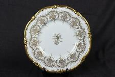 "Authentic Royal Cauldon King's Plate White 10"" Dinner Plate Gilt Bone China EX!"