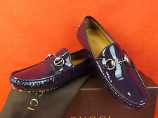 NIB GUCCI PURPLE PATENT LEATHER DAMO SILVER HORSEBIT DRIVER LOAFERS 36 6 $450