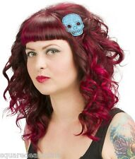 60058 Blue Glitter Skull Hair Clips Sourpuss Halloween Punk Barrette Set of 2