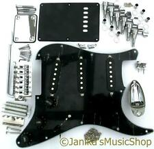 Guitar hardware parts black stratocaster pickguard machine heads bridge pickups