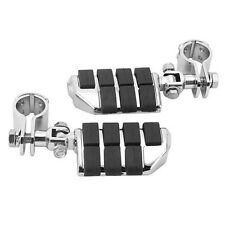 """1-1/4""""  BILLET MOTORCYCLE FOOT PEGS + CLAMPS FOR HARLEY ENGINE GUARD HIGHWAY NEW"""