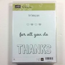Stampin' Up! For Being You Clear Rubber Stamp Thanks For All You Do Hearts NEW