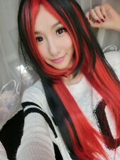Long Charm Lolita Color Mixed black and red Straight Anime Cosplay wig hair