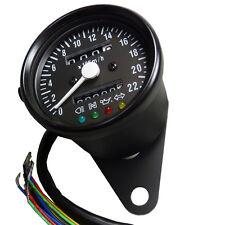 Mini Tachometer mit Kontrolleuchten schwarz matt Speedometer Bobber Chopper