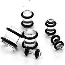 6 Pairs Clear Ear Stretching Kit Plugs Set 00g 0g 2g 4g 6g 8g tunnels gauges