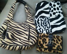 Set of 3 Zebra Leopard Print Purse Wallet Hand Bag Wallet Billfold Never Used