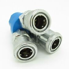 """3 Way Air Pneumatic Tool Quick Connector Coupling Hose Push In Fitting 1/4"""""""