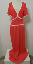 Vintage Olga Groovy Coral White Empire Bias Cut Accordion Pleated Maxi Dress 14