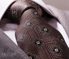 NEW ITALIAN DESIGNER BROWN PATTERN SILK TIE
