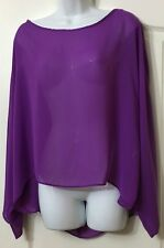 "��NWOT ""JANE NORMAN"" FUN FLOATY CHIFFON BATWING TIE BACK TOP SIZE 14"