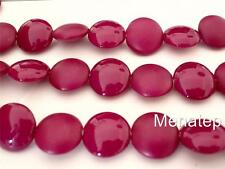 4(Four)  14mm Cushion Round Beads: Pop - Cranberry