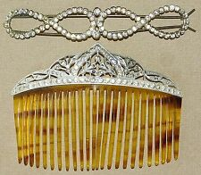 Antique Edwardian RHINESTONE Celluloid Hair COMB Tiara Clip