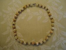 """Vintage Butterscotch Swirl Glass Bead with Brass Flower Beads 18"""" Necklace"""