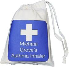 Personalised Blue Cross - Asthma Inhaler & Spacer bag - 14x20cm drawstring EMPTY