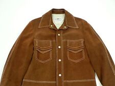 VTG Mens Brown Suede Leather Coat Jacket Size 40 California Sportswear 60s 70s