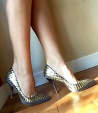 TED BAKER LANGLEY COURT LONDON SILVER GOLD SQUARE SEQUINS HEELS Stilettos Pumps