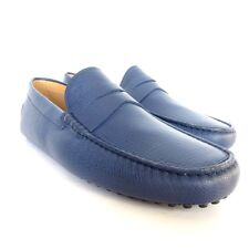 W-2025160 New Tods Textured Blue Leather Gommini Drivers Loafers Size 9.5 US10.5