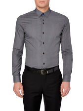 "REMUS UOMO Spotted Fashion Shirt/Charcoal - 15.5"" (Medium) Slim Fit"