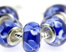 5PCS Silver Murano Lampwork Glass Beads fit European Charm Bracelet IL88