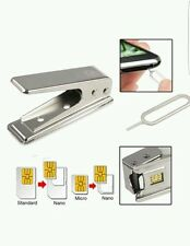Nano Sim Card Cutter & 3 Adaptors for iPhone 4 4S 5 6 & 7 iPad 3 and Above