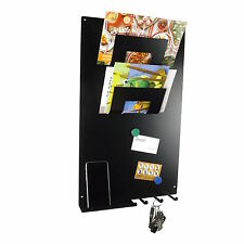BLACK 3 in 1 Magnetic Memo board letter rack and key holder by The Metal House