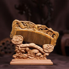 Chinese Natural Green Sandalwood Carved Wooden Fragrant Comb Craft Magpie Plum