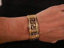 NEW WOMEN'S GOLD TONE GREEK KEY BANGLE BRACELET 18K YELLOW GOLD PLATED